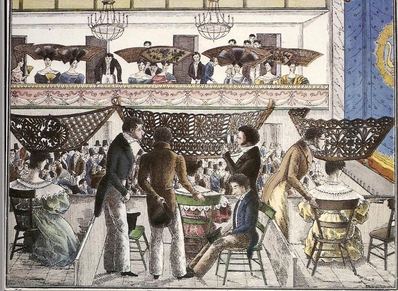 Peinetones-en-el-teatro-Extravagancias-de-1834-Cesar-Hipolito-Bacle