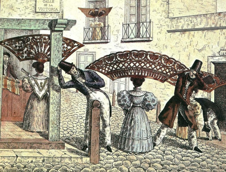 Peinetones-en-la-calle-Extravagancias-de-1834-Cesar-Hipolito-Bacle