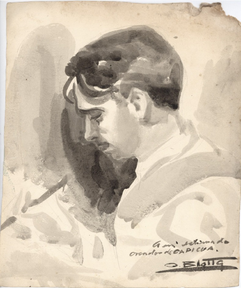 Retrato de Mazzone por O. Blotta