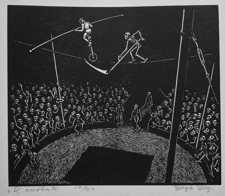 Sergi Sergio / xilografia / el acrobata