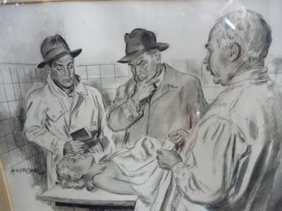 cuadro dibujo o cerigrafia cristobal arteche muerte de evita